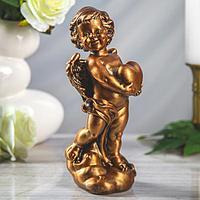 """Статуэтка """"Ангел с сердцем"""", бронзовый цвет, 25 см"""