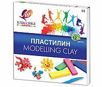 Пластилин классический ЛУЧ «Классика», 12 цветов, 240 г, со стеком, картонная упаковка