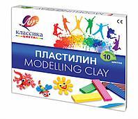 Пластилин классический ЛУЧ «Классика», 10 цветов, 200 г, со стеком, картонная упаковка