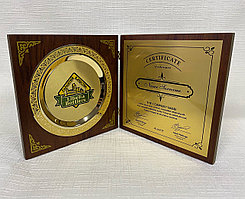 Наградная плакетка с тарелкой (Цвет - золото, диаметр 16см)