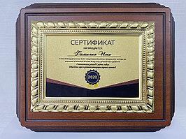 Наградная плакетка с металлической рамкой (гальваника), ДЕРЕВО  (22х27см)