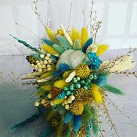 Букет из сухоцветов, цвет желтый, тифани, белый, высота 30-35 см