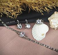 """Серебряный комплект """"Элизи"""" 19р, браслет, серьги кольцо, крупного размера, классика, подарок девушке"""