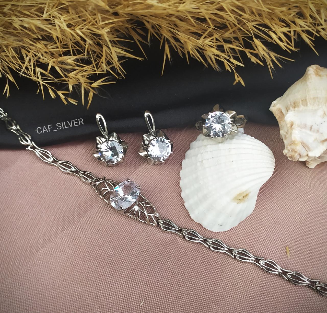 """Серебряный комплект """"Элизи"""" 19р, браслет, серьги кольцо, крупного размера, классика, подарок девушке - фото 1"""
