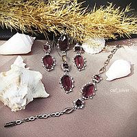 """Серебряный комплект """"Галла"""" 18р, розовый камень, серьги, кулон, кольцо, браслет, цепочка, подарок"""
