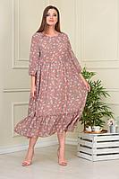 Женское летнее шифоновое бежевое большого размера платье Anastasiya Mak 824 бежевый 50р.