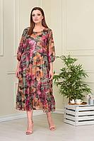 Женское летнее шифоновое большого размера платье Anastasiya Mak 824 мультиколор 52р.