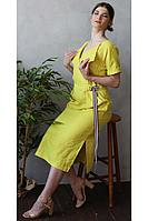 Женское летнее льняное желтое нарядное платье Romgil 20с276-45 желтый 44р.