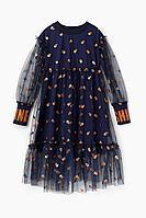 Детское для девочек осеннее трикотажное синее нарядное платье Bell Bimbo 202207 т.синий 104-56р.