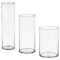 Вазы из прозрачного стекла IKEA ЦИЛИНДР, набор из 3 шт