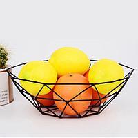 Миска для фруктов металлическая корзинка геометрической формы черная