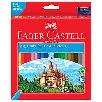 """Карандаши цветные Faber-Castell """"Замок"""", 48цв., шестигр.,заточ.+точилка, картон, европодвес"""