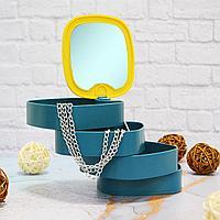 Шкатулка для ювелирных украшений органайзер с зеркалом 4 отдела цвета желтый и темно-синий