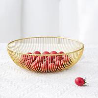 Миска для фруктов металлическая корзинка геометрической формы золотистая