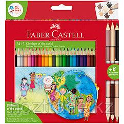 """Карандаши цветные Faber-Castell """"Дети мира"""", 24цв., трехгран, заточ.+6цв., карт. упак."""