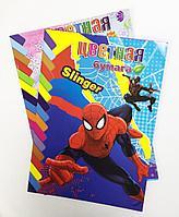 Бумага цветная для детского творчества 6 цв., 12 л., Spider-man