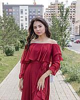 Кружевное платье бордового оттенка (шифоновое), фото 1