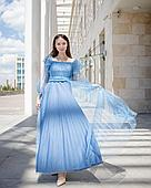 Капроновое платье голубое (вечернее, Hanym)