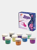 Акриловые перламутровые краски по ткани ЛУЧ, набор 9 цветов по 15 мл