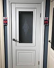 Дверь DL310 Стекло, цвет Белая эмаль