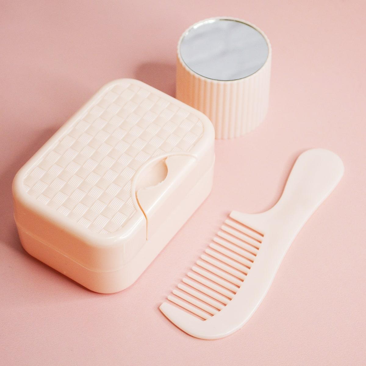 Банный дорожный набор 5 предметов (футляр для зубной щетки, вехотка, мыльница, расческа, косметичка) розовый - фото 2