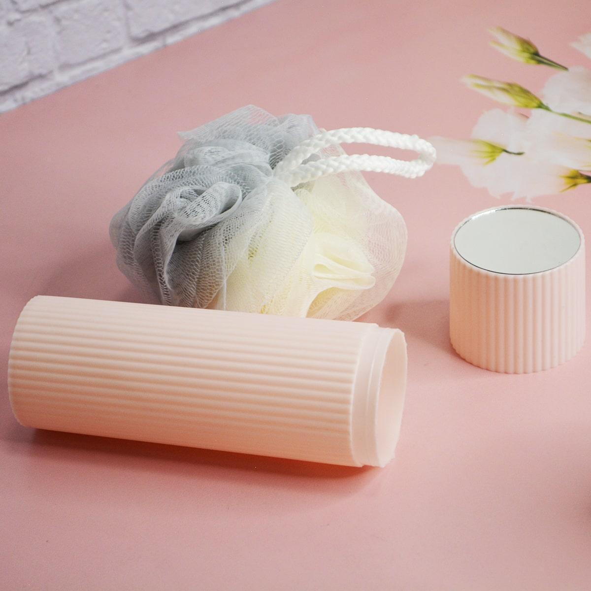 Банный дорожный набор 5 предметов (футляр для зубной щетки, вехотка, мыльница, расческа, косметичка) розовый - фото 3
