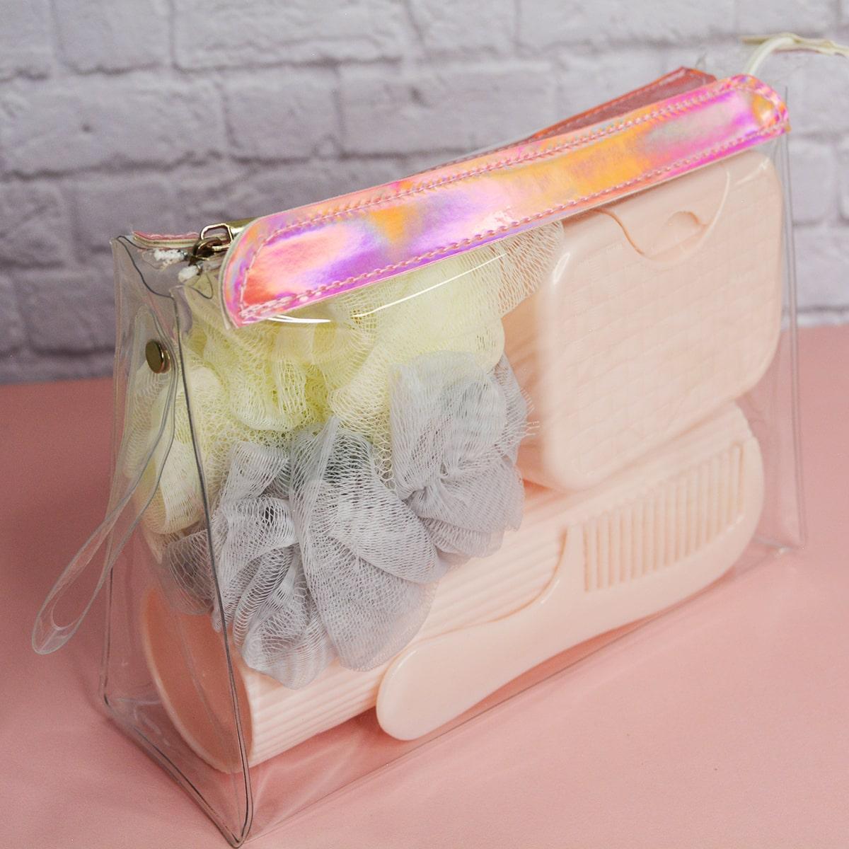 Банный дорожный набор 5 предметов (футляр для зубной щетки, вехотка, мыльница, расческа, косметичка) розовый - фото 8