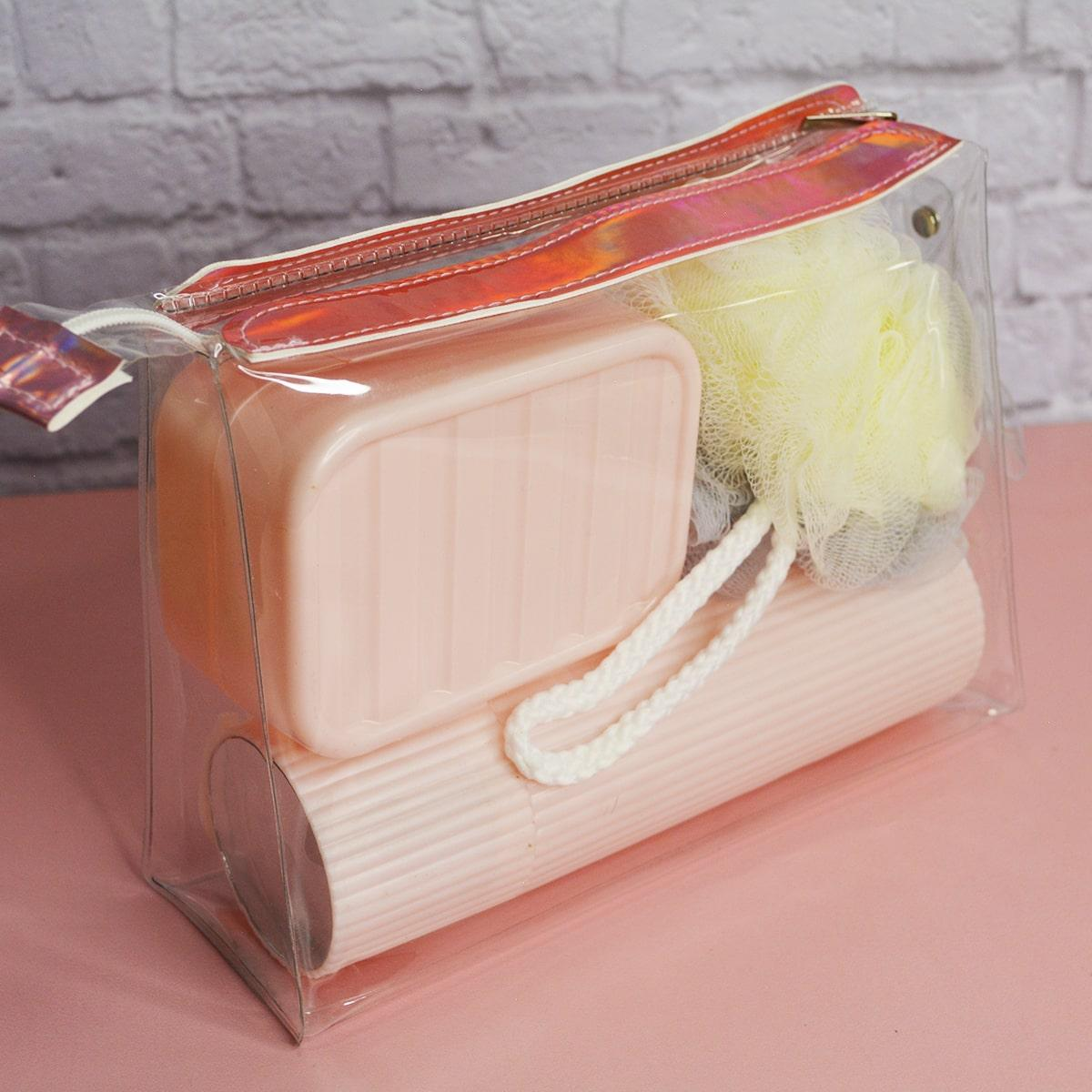 Банный дорожный набор 5 предметов (футляр для зубной щетки, вехотка, мыльница, расческа, косметичка) розовый - фото 9