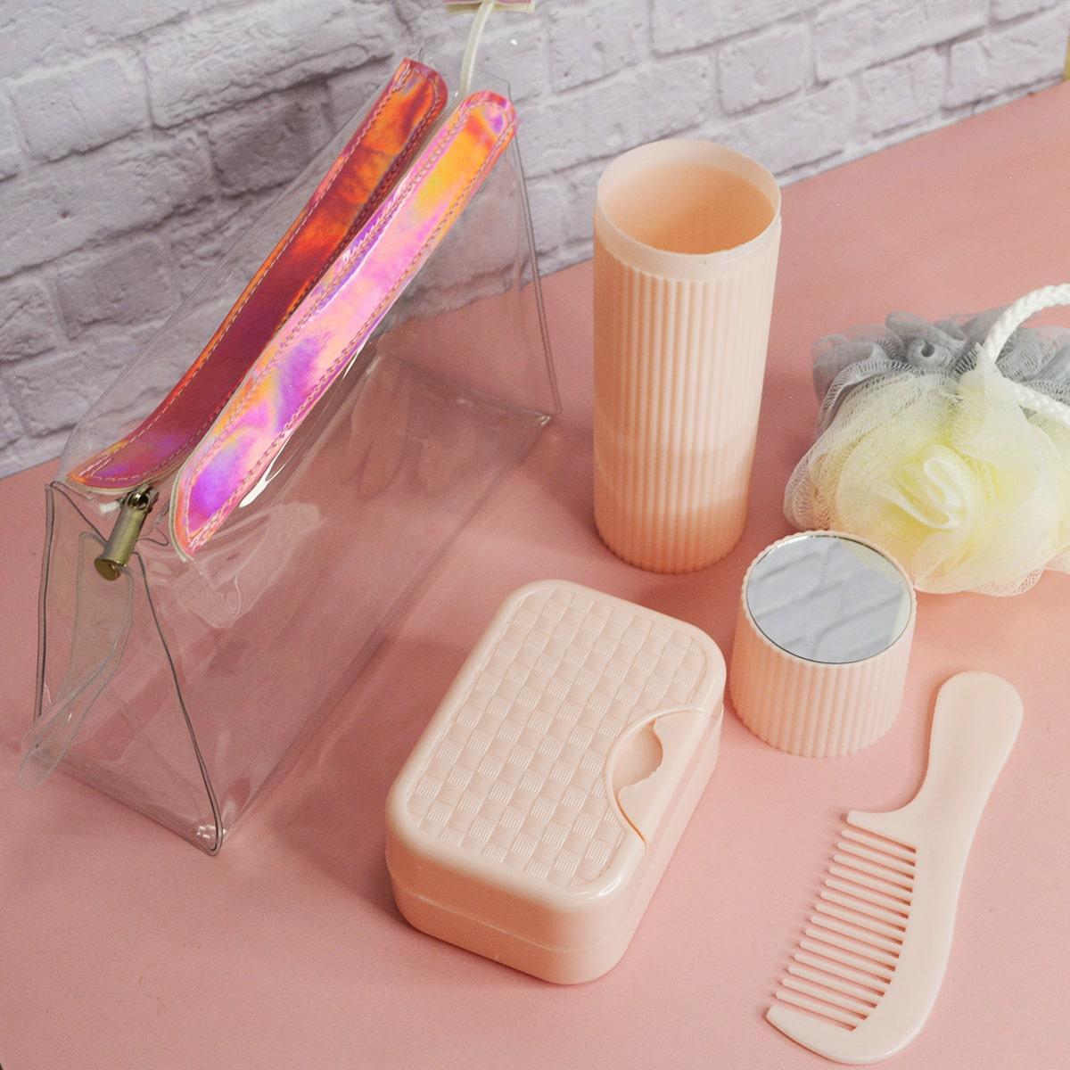Банный дорожный набор 5 предметов (футляр для зубной щетки, вехотка, мыльница, расческа, косметичка) розовый - фото 10