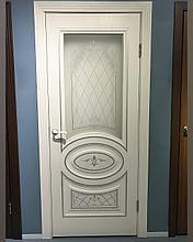 Дверь DL515 стекло, цвет Белое дерево серебро