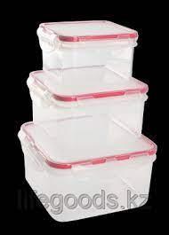 Комплект герметичных емкостей для продуктов Amore прямоугольных 0,5 л + 1л + 1,5 л сочный томат