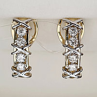 Золотые серьги с бриллиантами 0.65Ct SI2/K, EX-Cut, фото 1