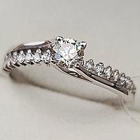 Золотое кольцо с бриллиантомI 0,45Сt VVS2/K,  EX-Cut, фото 1
