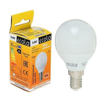 Лампа светодиодная Ecola globe, G45, 5.4 Вт, E14, 4000 K, 82x45, дневной белый
