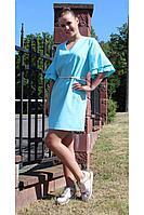 Женское летнее льняное голубое платье Arisha 1254-1 ментоловый 44р.