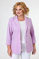 Женский осенний хлопковый фиолетовый деловой большого размера жакет БелЭльСтиль 203 розовый_джинс-полоска 46р.