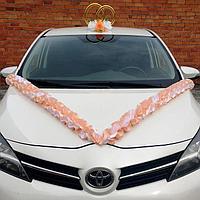 Набор для украшения авто: кольца на крышу, лента на капот, 4 банта, персик