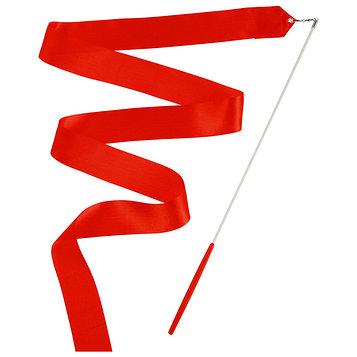 Лента гимнастическая с палочкой, 6 м, цвет красный