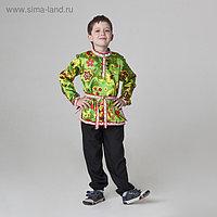 Карнавальная русская рубаха «Хохлома», атлас, р. 32, рост 122-128 см, цвет зелёный