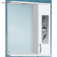 Зеркало-шкаф Панда 550 Дельфин со светом, правое, белое 15 см х 55 см х 70 см