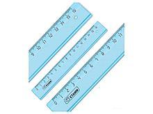 """Линейка СТАММ """"Cristal"""" 16 см, тонированная голубая"""