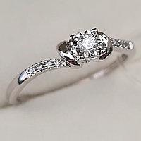 Золотое кольцо с бриллиантами 0.082Ct SI2/H, EX - Cut, фото 1