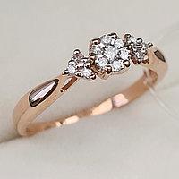 Золотое кольцо с бриллиантами 0.22Ct SI2/H, EX - Cut, фото 1