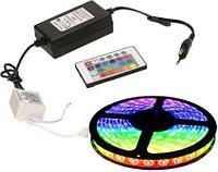 Светодиодная лента 5м RGB + Блок питания + Маленький Пульт Комплект lent