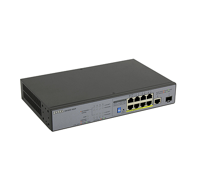 Коммутатор 8+1 PORT 10 / 100 / 1000 ZYXEL GS1300-10HP-EU0101F, серый
