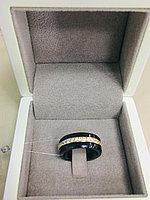 Кольцо керамическое / жёлтое золото - 18 размер