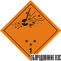 """Знак """"Подкласс 1.1, 1.2, 1.3 Взрывчатые вещества"""""""