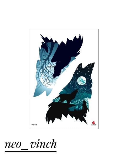 """Водостойкая временная тату- наклейка """"Лунный Волк"""""""