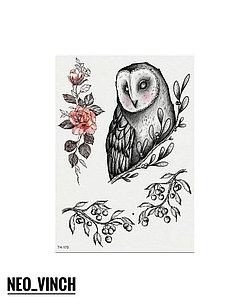 """Водостойкая временная тату- наклейка """"Цветочная сова"""""""
