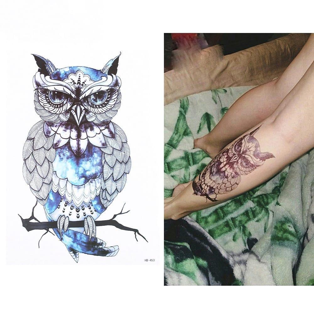 """Водостойкая временная тату- наклейка """"Синяя сова"""""""